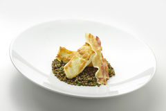 Turbot fillet with lentils and crispy bacon Stock Photos