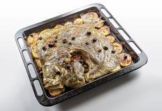 Turbot ryba w wypiekowej niecki piekarniku z grul oliwkami i aromatyczny zdjęcie stock