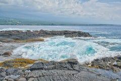 Turbulant Vocanic岩石风景, Kealakekua海湾 库存照片
