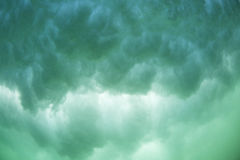 Turbulence. The view from under a broken wave with the clouds of whitewash and aerated water Stock Photo