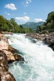 Turbulent rafting water of Neretva river. Bosnia and Herzegovina stock image