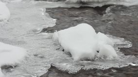 The turbulent river in winter. aerial view. nature background stock footage