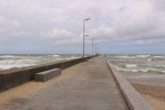 Turbulent sea on the beach of Lokken, Denmark. Royalty Free Stock Photography