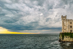 Turbulent stormy sky. A storm approaching the Miramare Castle, in Trieste, during the afternoon of 26 may 2013 Stock Photography