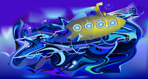 Turbulent water background with submarine. Dark blue, white and purple rippling water with surfacing gold submarine Royalty Free Stock Photo