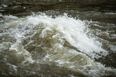 Turbulent water in river. Swollen due to snow melting royalty free stock photo