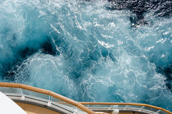 Turbulent water at the stern of a cruise ship Royalty Free Stock Photo