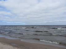 Turbulent waters. Of lake Ladoga. Cloudy summer in the North-West of Russia stock images