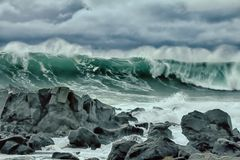turbulent waves of Pacific ocean and rugged beauty Stock Images