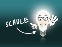 Turchese della luce di energia della lampada della lampadina di Schule Fotografia Stock Libera da Diritti