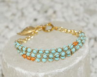 Turchese e braccialetto di pietra arancio Fotografie Stock