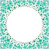 Turchese e fiori verdi su fondo bianco illustrazione vettoriale