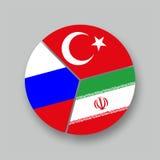 Turchia της Ρωσίας Ιράν Tre bandiere Στοκ Εικόνες