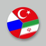 Turchia de la Russie Iran de bandiere de Tre Photo stock