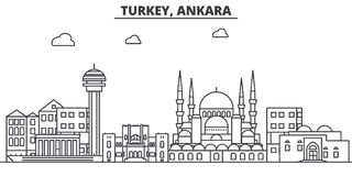 Turcja, Ankara architektury linii linii horyzontu ilustracja Liniowy wektorowy pejzaż miejski z sławnymi punktami zwrotnymi, mias Zdjęcia Stock