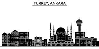 Turcja, Ankara architektury miasto wektorowa linia horyzontu, podróż pejzaż miejski z punktami zwrotnymi, budynki, odosobneni wid Zdjęcie Stock
