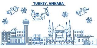 Turcja, Ankara zimy miasto linia horyzontu Wesoło boże narodzenia, szczęśliwi ilustracji