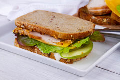 Turcja, cheddar i zielona jabłczana kanapka, fotografia stock