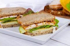 Turcja, cheddar i zielona jabłczana kanapka, obraz stock