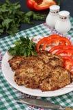 Turcja kotleciki i słodki pieprz na talerzu przeciw ciemnemu tłu obrazy stock