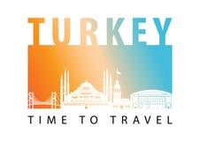 Turcja punktu zwrotnego sylwetki sławny styl, wektorowa ilustracja ilustracji