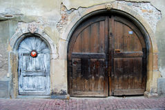 TURCKHEIM DOORS. Two doors in Turckheim village France Royalty Free Stock Photo