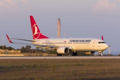 Turco 737 alla luce di tramonto Immagini Stock