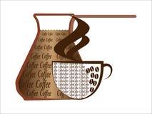 Turco, café y pote Foto de archivo
