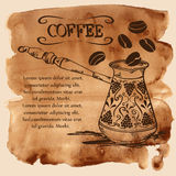 Turco de cobre del café en un fondo de la acuarela Foto de archivo libre de regalías
