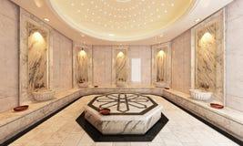 Turco de mármol Hamam, diseño moderno del baño Foto de archivo libre de regalías