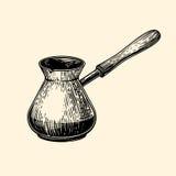 Turco del café Ejemplo del vector en estilo del bosquejo Imágenes de archivo libres de regalías