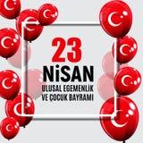 23 turco del giorno del ` s di April Children parlano: 23 Nisan Cumhuriyet Bayrami Illustrazione di vettore Fotografie Stock