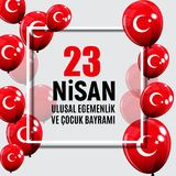 23 turcos del día del ` s de April Children hablan: 23 Nisan Cumhuriyet Bayrami Ilustración del vector Fotos de archivo