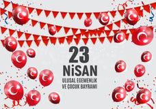 23 turcos del día del ` s de April Children hablan: 23 Nisan Cumhuriyet Bayrami Ilustración del vector Imagen de archivo