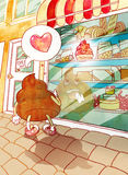 Turd fell in love with cake. Watercolor illustration of turd falling in love with the pink cake vector illustration