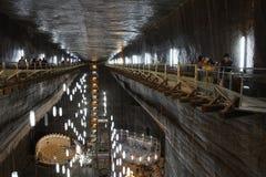 TURDA, ROMANIA - AUGUST 19TH 2016 - Inner view of Turda Salt Mine Royalty Free Stock Images
