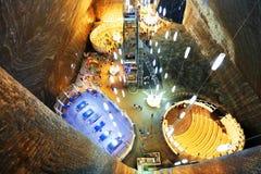 TURDA, ROMANIA - AUGUST 19TH 2016 - Inner view of Turda Salt Mine Royalty Free Stock Photo