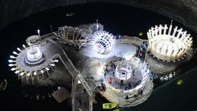 Turda salt mine. Turda romania underground salt mine landmark stock video