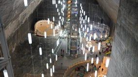Turda salt mine. Turda underground salt mine landmark architecture stock footage