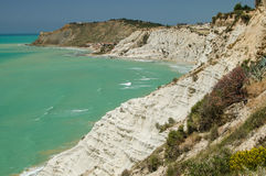 Turecczyzn skały blisko Agrigento (Sicily) Zdjęcia Royalty Free