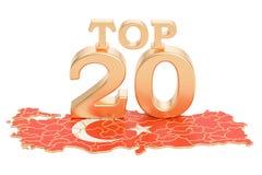 Turecczyzna wierzchołka 20 pojęcie, 3D rendering Obrazy Royalty Free