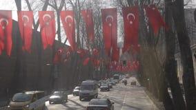 Turecczyzna zaznacza obwieszenie na drzewach wzdłuż ulicy Istanbuł, patriotyzm, referendum zdjęcie wideo
