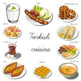 Turecczyzny Asia kuchni set Kolekcja karmowi naczynia Zdjęcie Royalty Free