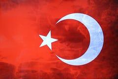 Turecczyzny flaga Turecka czerwona flaga z biel księżyc i gwiazdą Flaga państowowa Turcja Zdjęcie Royalty Free