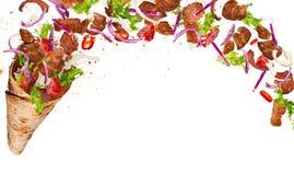 Turecczyzny Kebabu yufka z latającymi składnikami obraz royalty free