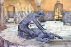 Turecczyzny skąpanie wśrodku Rycerza kasztelu, Akr, Izrael Obrazy Stock