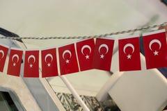 Turecka flaga państowowa w widoku Zdjęcie Stock