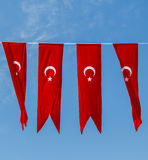 Turecka flaga państowowa w widoku Zdjęcia Royalty Free