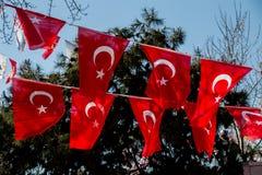 Turecka flaga państowowa w widoku Obraz Royalty Free