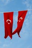 Turecka flaga państowowa w widoku Fotografia Stock
